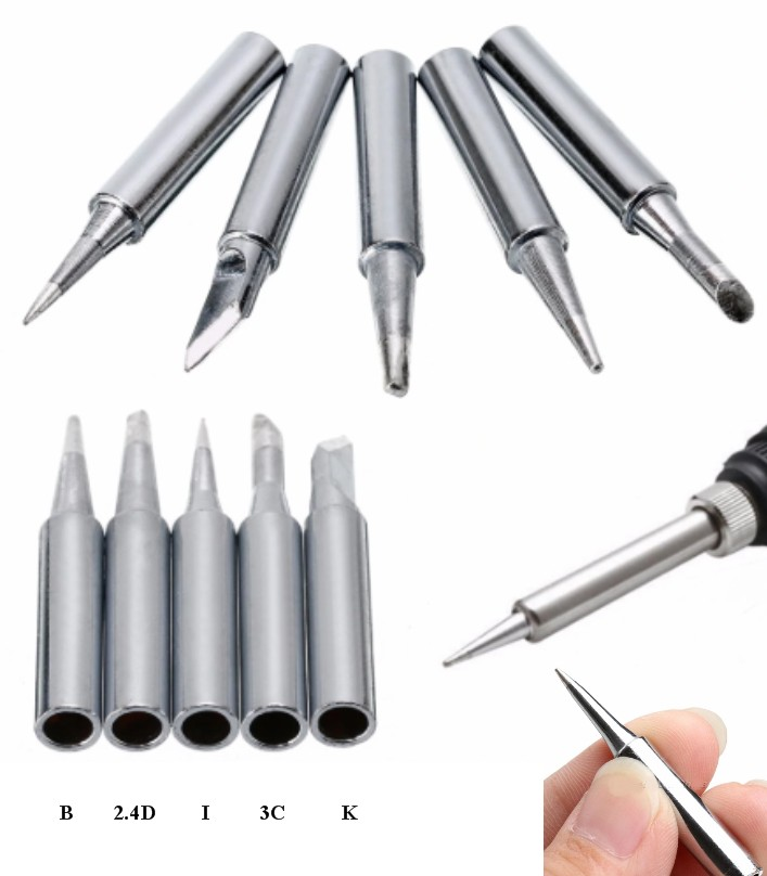 5pcs set Silver 936 Lead-Free Soldering Iron Tip