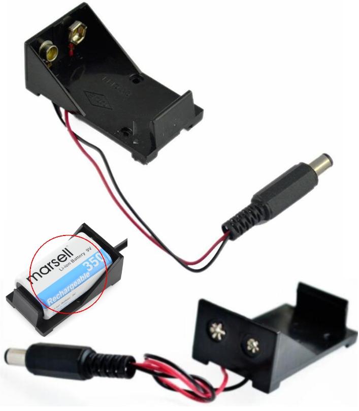 9V DC Battery holder with 5.5x2.1 dc Jack