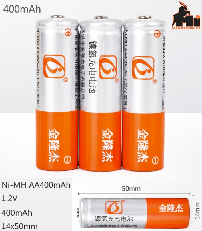 3pcs 1.2v 400mAh AA rechargeable battery cell