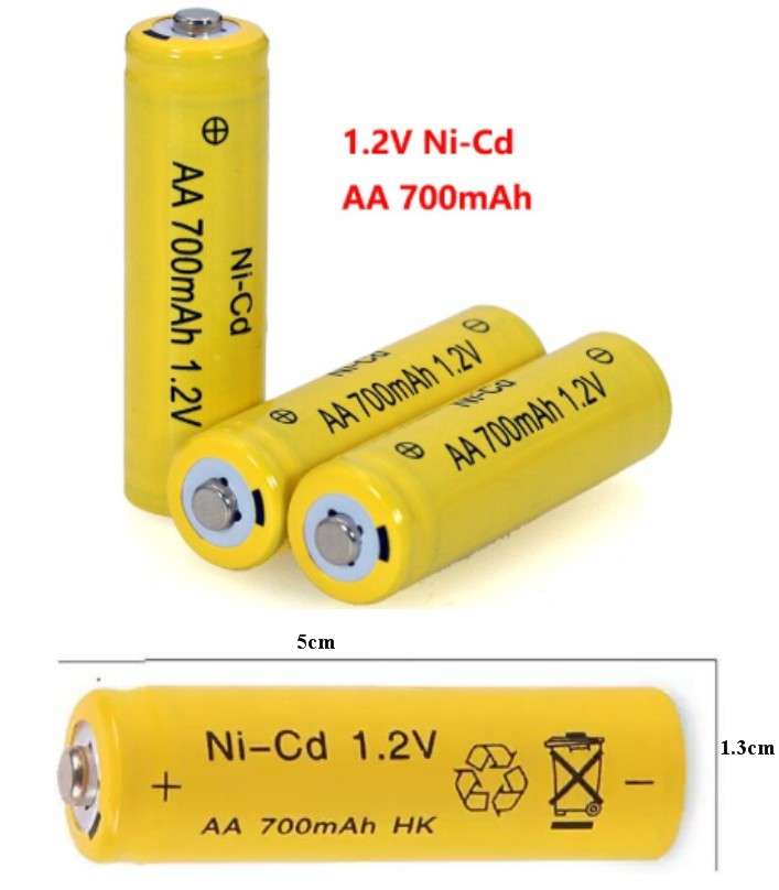 3pcs Rechargeable 1.2V 700mAh AA Battery NiCd cell