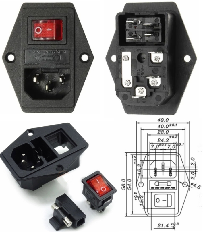 AC 110-220V Power Socket+Fuse Holder+Rocker Switch
