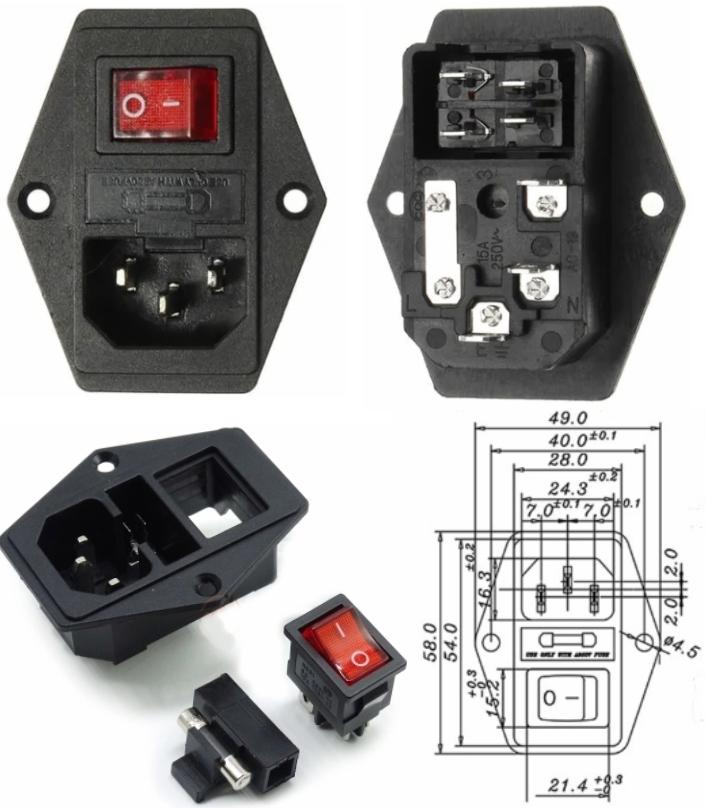 AC 110-220V Power Socket+Fuse Holder+Rocker Switch