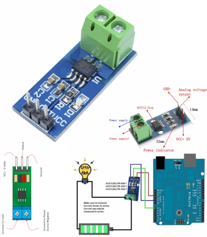 20A ACS712 Current Sensor AC DC Arduino 8051