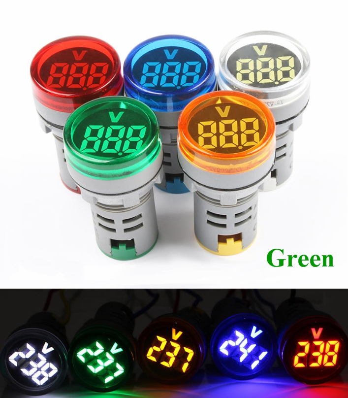 Green 22mm AC Voltage meter indicator display AD10