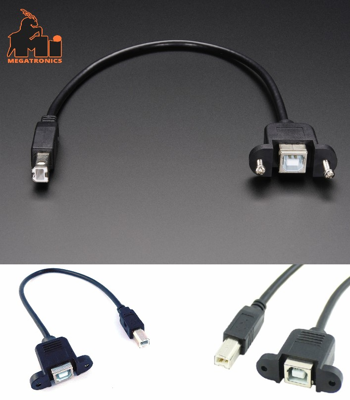 Panel Mount USB Cable B Male to B Female Arduino