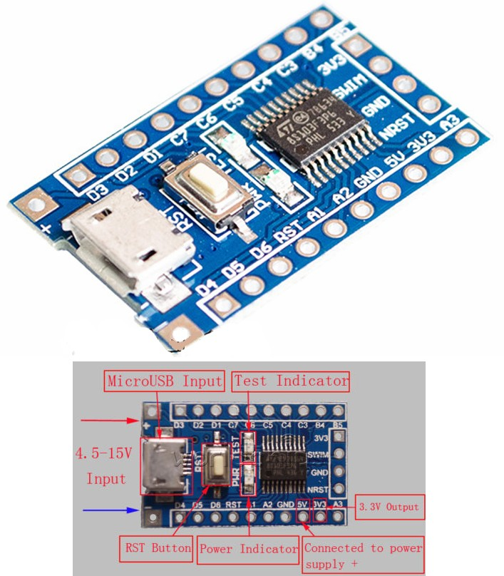 STM8 Minimum System Development Board- STM8S103F3P
