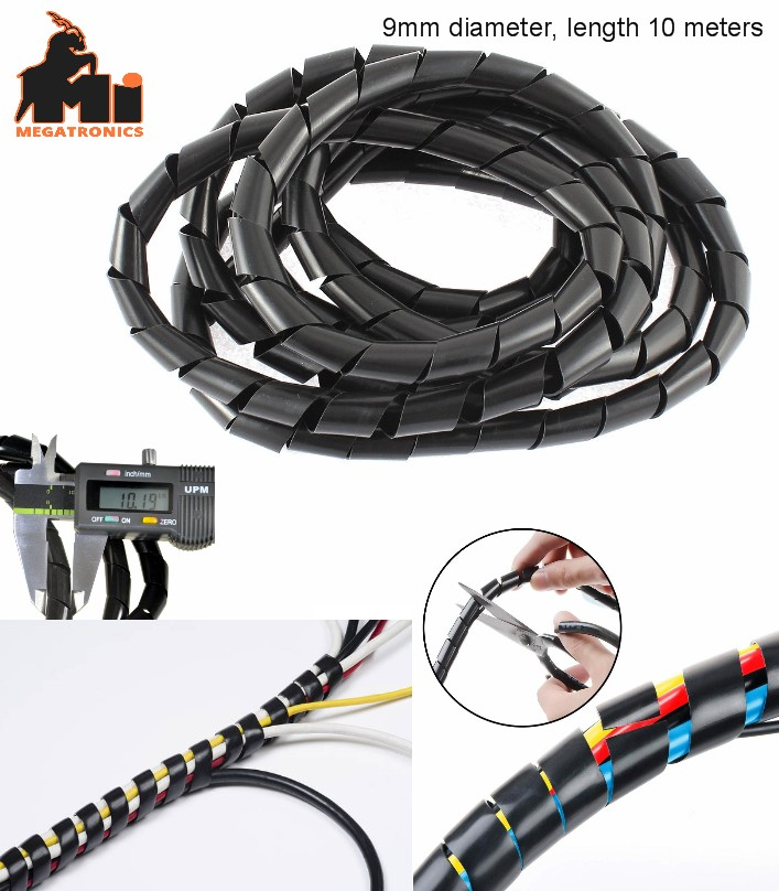 10Meters 9mm Flexible Wire Spiral Wrap Cable Sleev