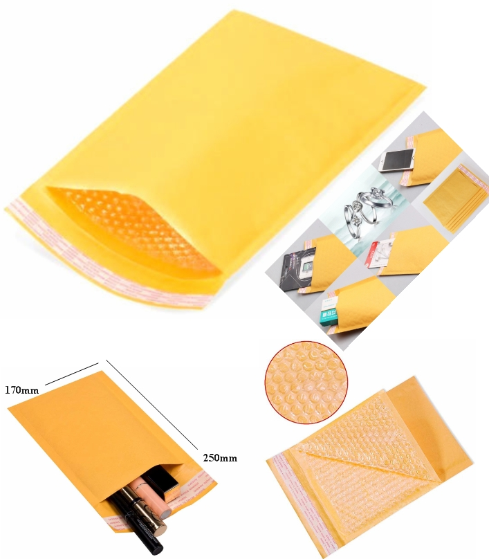 bubble Padded Envelope 17x25cm Yellow Kraft Bag sh