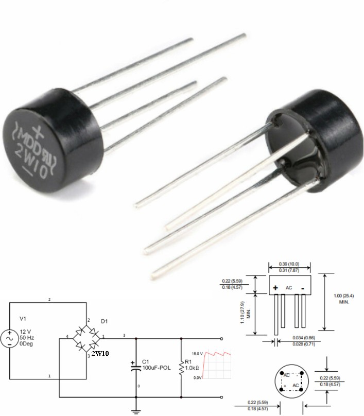 2W10 2A 1000V silicon bridge rectifier diode AC-DC