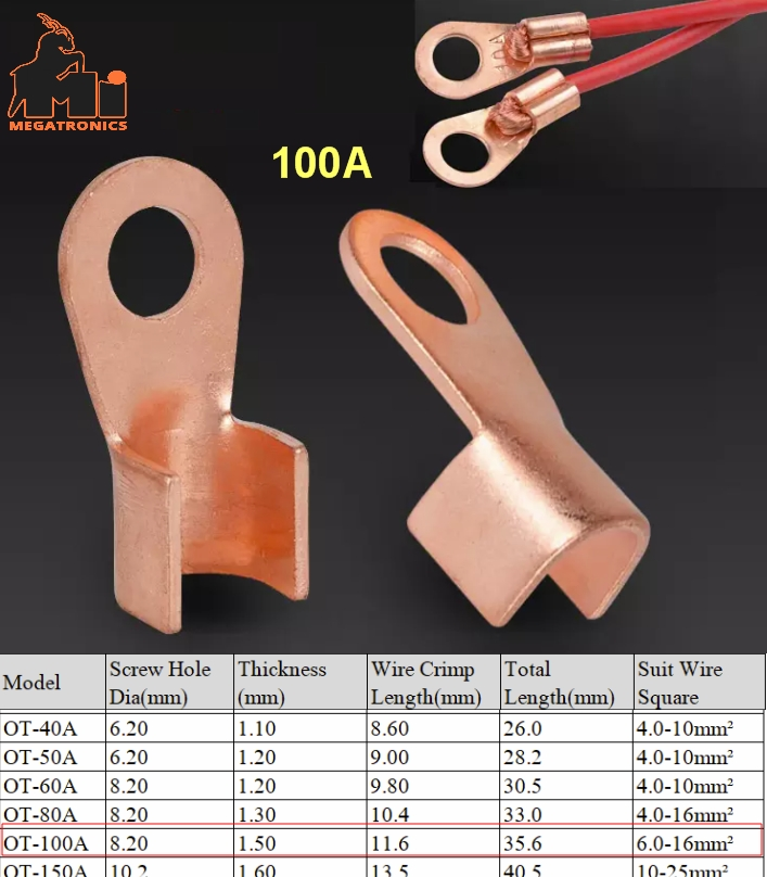 OT Type 100A Wire cable Terminal thimble Nose Lugs