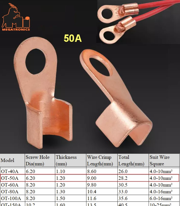 OT Type 50A Wire cable Terminal thimble Nose Lugs