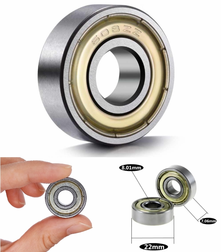 608ZZ Ball Bearing Non Flanged  8mm Bore, 22mm OD