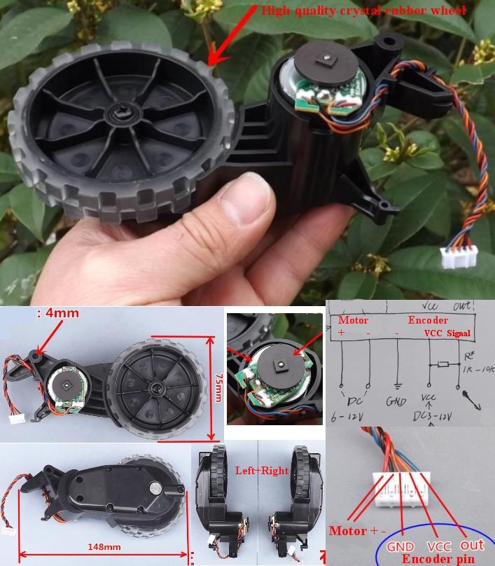 Encoder DC gear motor smart wheels pair Left+Right