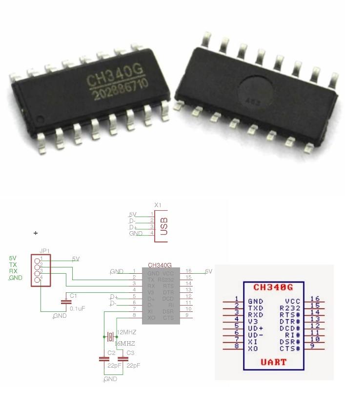 CH340G SOP-16 IC USB TTL Serial port Chip CH340