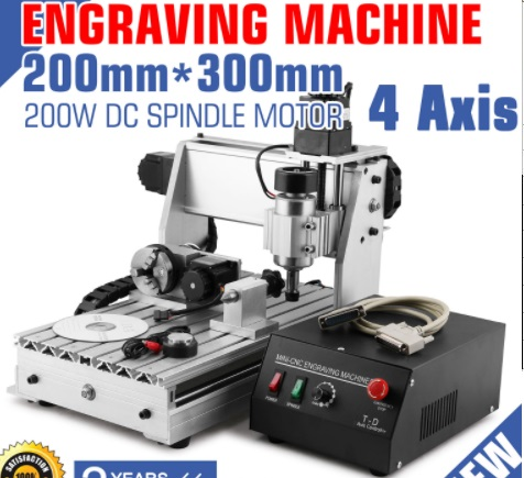 4 Axis 3020T 200W CNC Router Engraver Engraving