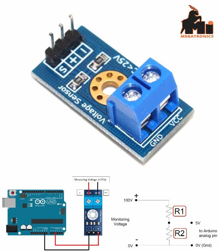 DC Voltage Sensor Module for Arduino Raspberry Pi 0-25v dc sensor