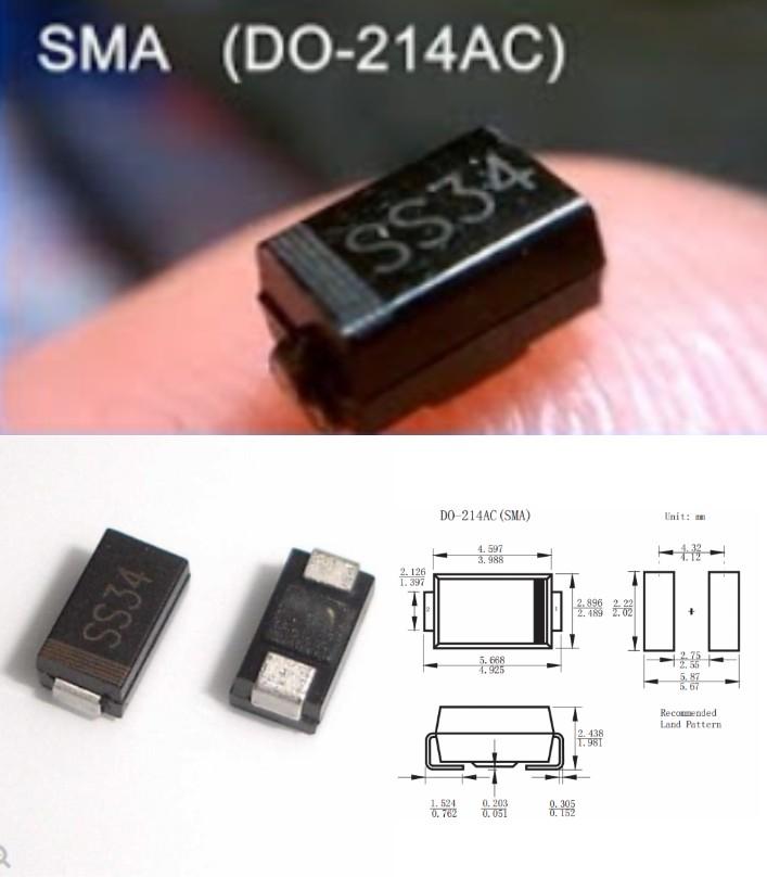 SS34 1N5822 SMD schottky diode 3A 40V DO-214AC