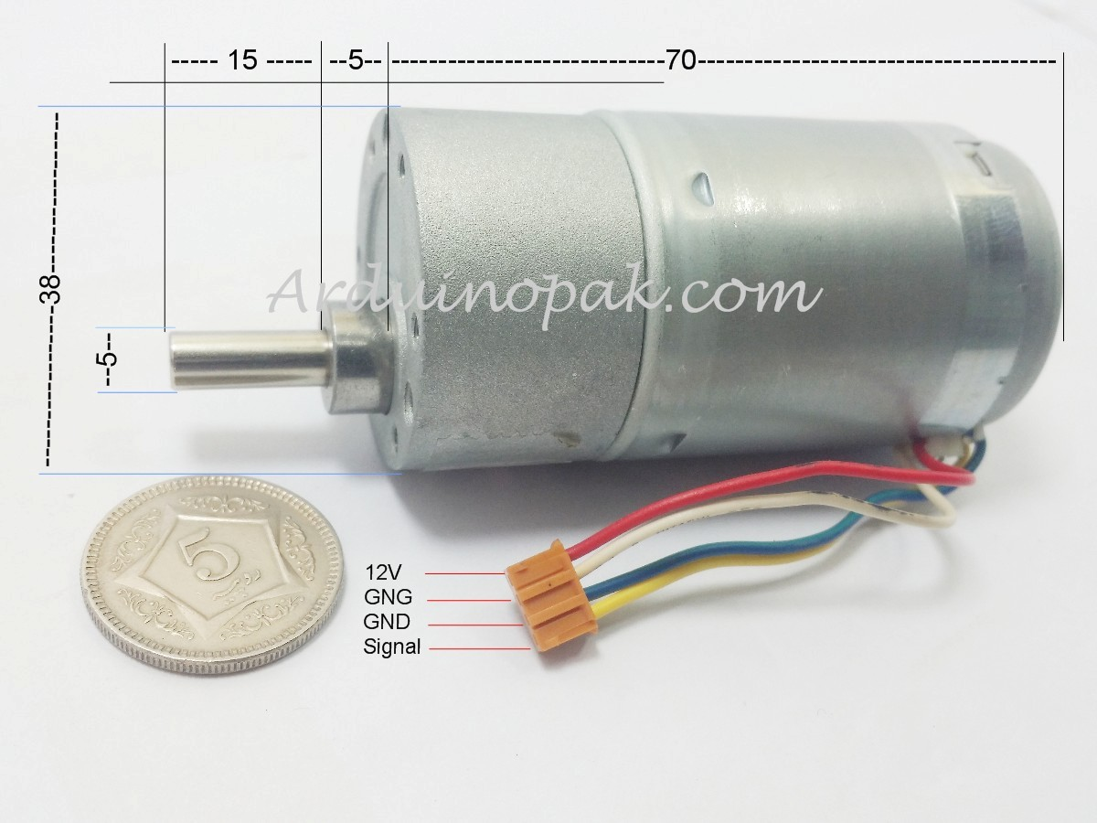 High torque 12V 250RPM Motor with Encoder and Gear