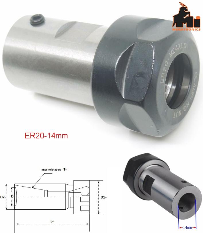 CNC spindle ER20 collet chuck motor extension rod
