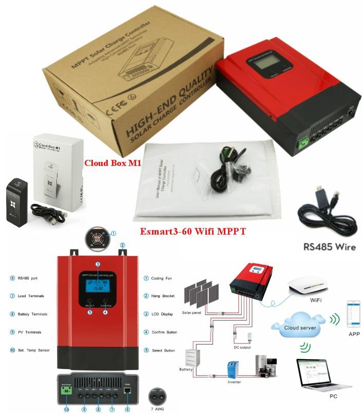 MPPT 60A WiFi Solar Charge Controller 12V 24V 48V