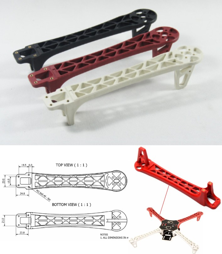 Quadcopter DJI F450 F550 replacement single Arm