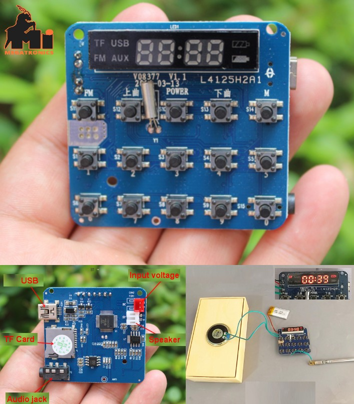 amplifier board TF card player FM radio function w