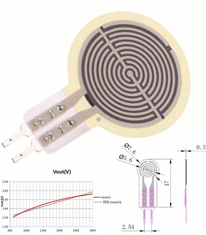 RP-C7.6 Thin Film FSR Pressure Sensor Smart Pressu