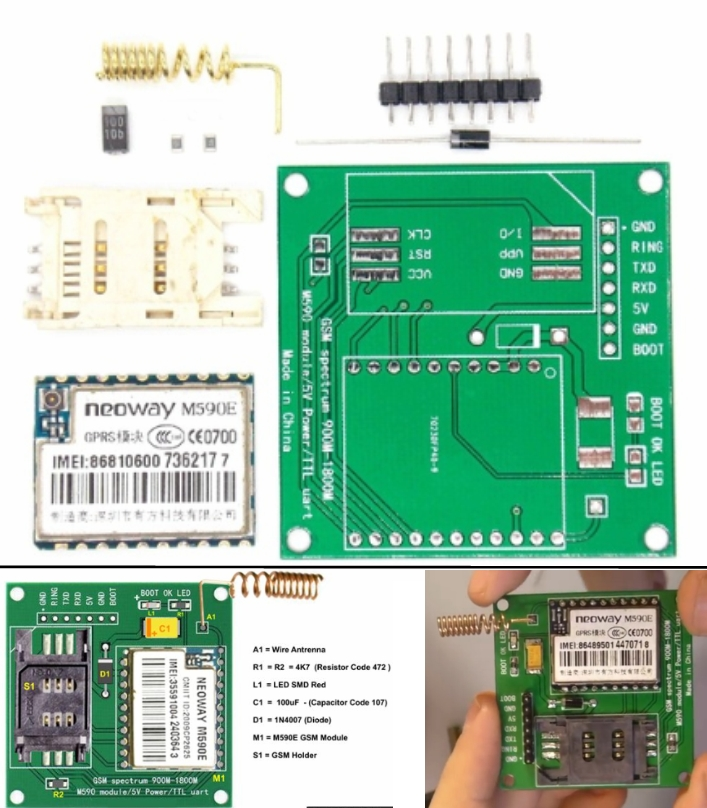 M590E GSM GPRS DIY Kit 900M-1800M SMS Message