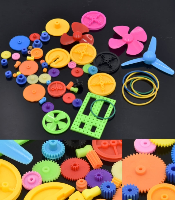Colorful DIY 55 kinds of Plastic Gear Gearbox Toy