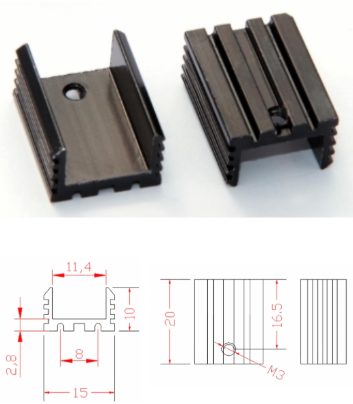 U-shaped T0-220 heatsink 7805 20x15x10mm black