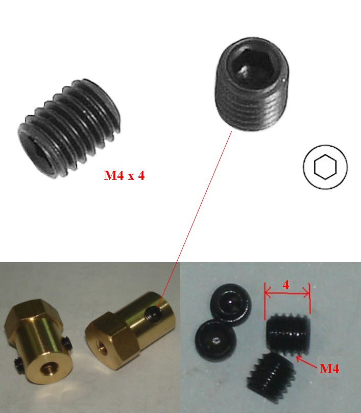 M4 Headless Hex Grub Screw Bolt M4x4mm