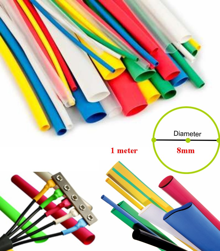 1Meter 8mm Heat Shrink Tube Wire Wrap Cable Sleeve