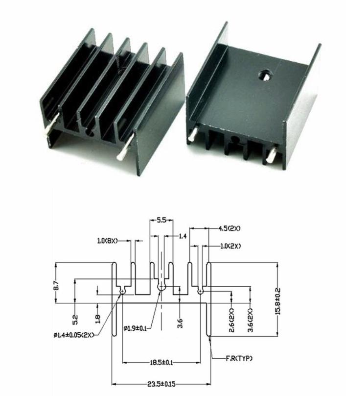 25x23x16mm TO-220 Aluminum Heat sink double needle