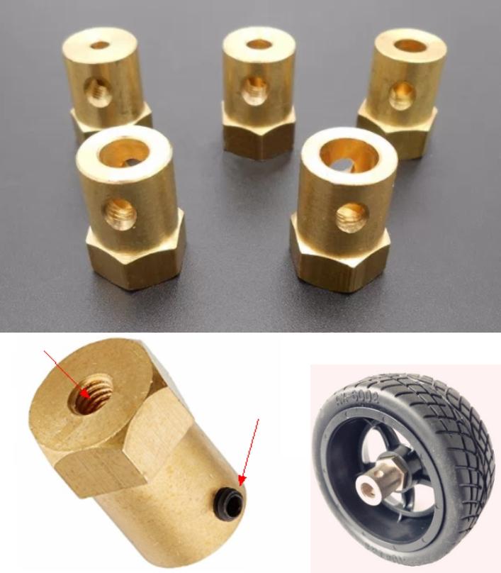 6mm Shaft Hexagon Motor Coupler Coupling DIY Brass