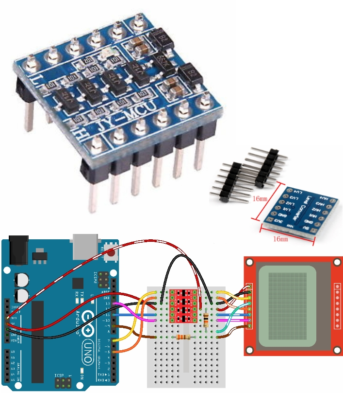 5V 3V IIC UART SPI Level 4-Way Converter Module