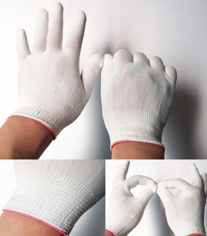 Electronic anti-static thin Nylon white gloves 13