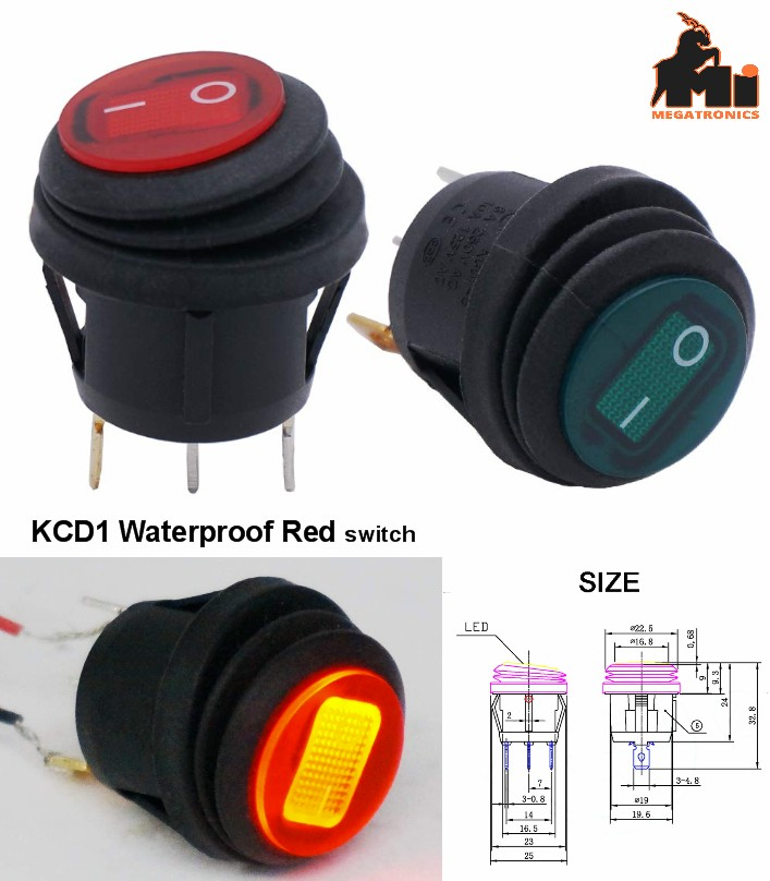 SPST 3 Pins ON OFF Waterproof Round Rocker Toggle Switch Red LED Light KCD1-5-10