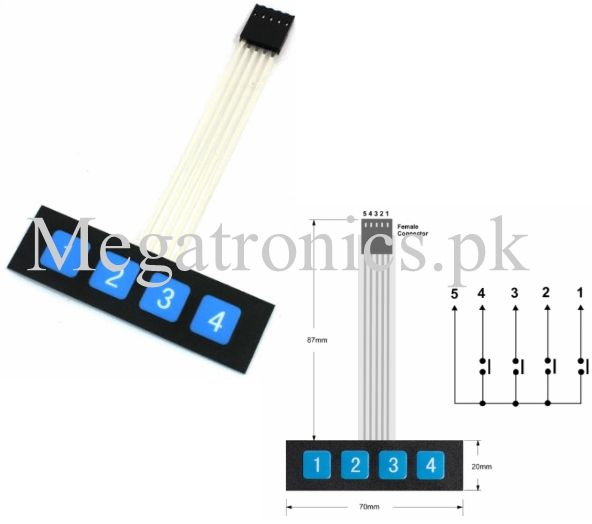 1x4 key switch Membrane Matrix KeyPad
