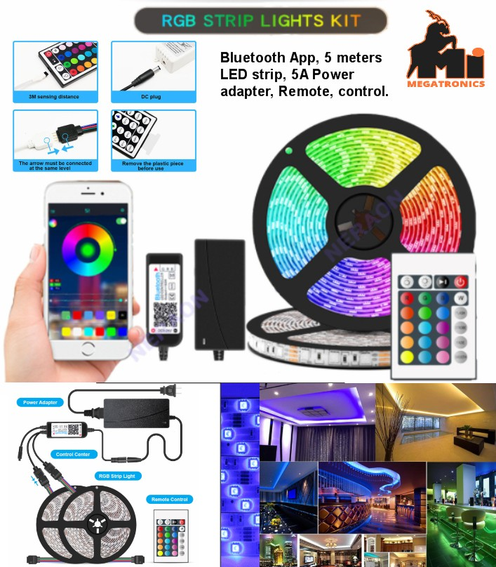 5M 300 lights RGB Bluetooth APP music light strip