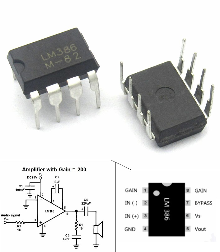 LM386N LM386 audio power amplifier IC chip DIP-8