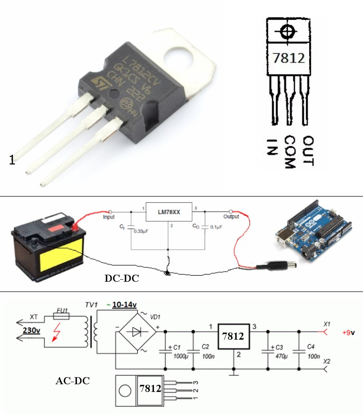 LM7812CV DC Voltage Regulator 12V fix output