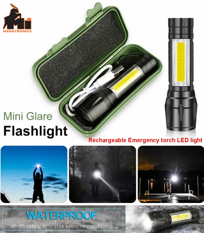 LED Torch Flashlight COB Reader Lamp rechargeable