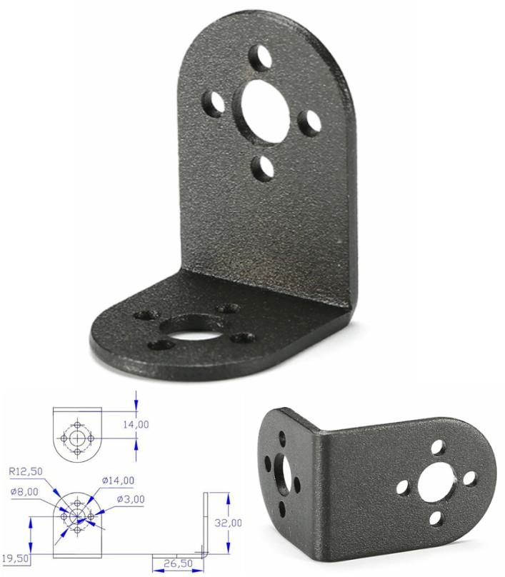 L-SHAPED servo bracket mount PTZ ROBOTIC DIY
