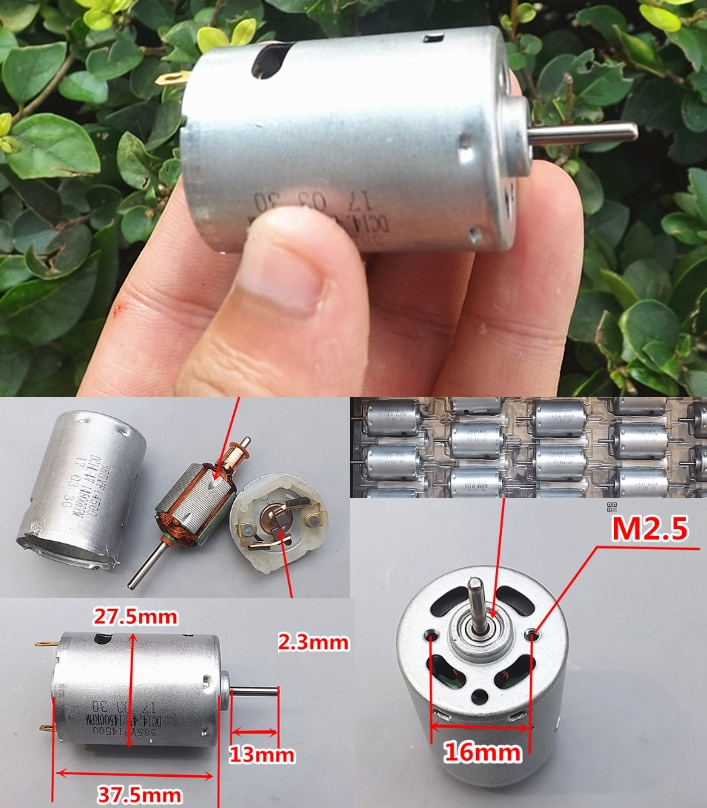 DC 12V 12000RPM strong motor front ball bearing
