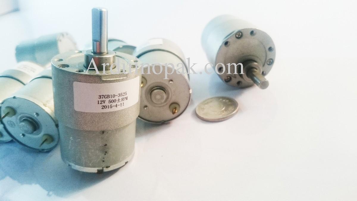 Pololu Gear Motor 12V, 500 RPM, 5 kg-cm,