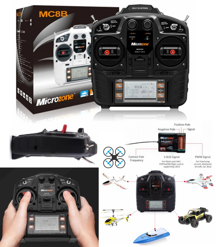 MC8B 2.4G 8CH microzone remote Transmitter Receive