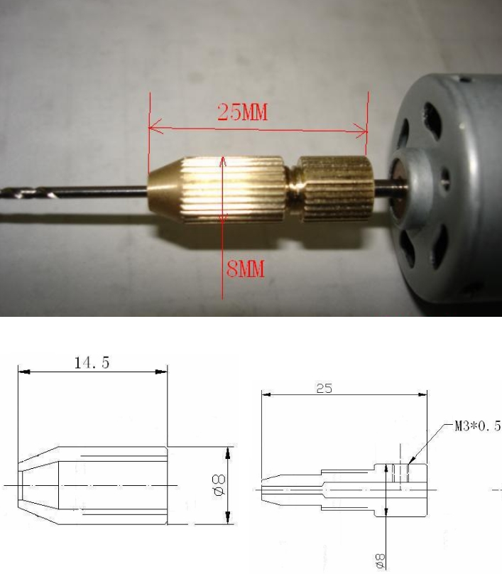 Mini Drill Chuck 3.17-1.5 bit holder BrassElectric