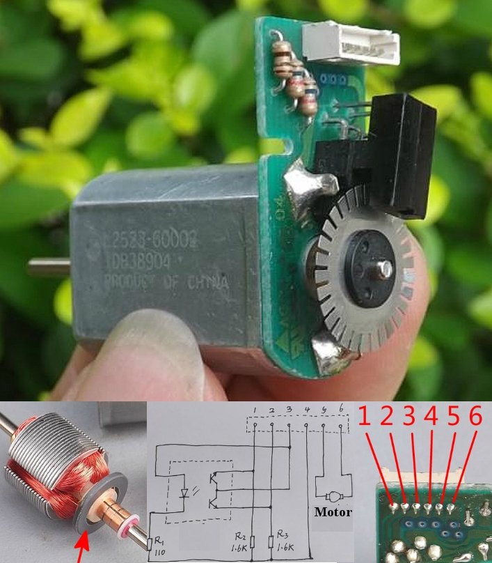 Small 12v dc motor with optical encoder sensor