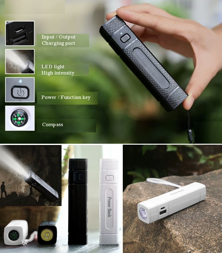 Megatronics power bank 2000mAh with torch compass