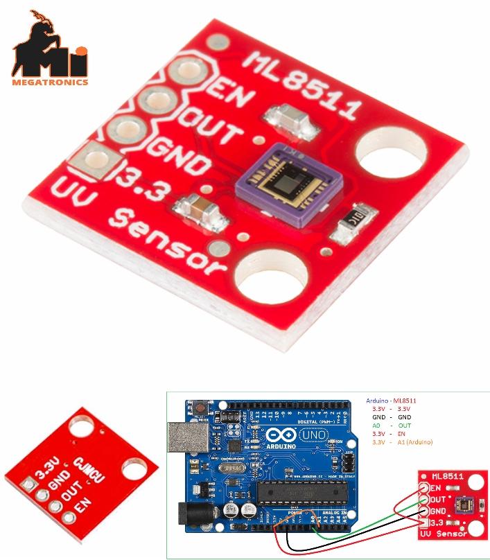 ML8511 UVB Ultraviolet Detection UV Sensor Breakou